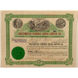 Greenwater Furnace Creek Copper Co. Stock Certificate