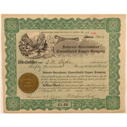 Johnnie-Greenwater Cons. Copper Co. Stock Certificate