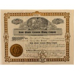Keane Wonder Extension Mining Company Stock Certificate, Death Valley,  1907.
