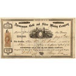 Agamemnon Gold and Silver Mining Co. Stock Certificate 1864