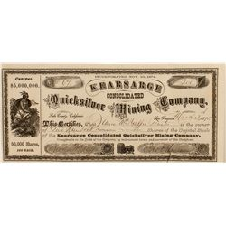Kearsarge Cons. Quicksilver Mining Company Stock Certificate, 1875.
