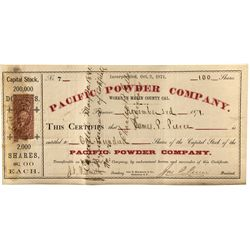 Pacific Powder Co. Stock Certificate