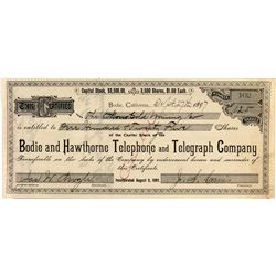 Bodie and Hawthorne Telephone and Telegraph Company Stock Certificate