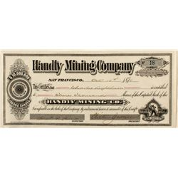 Handly Mining Co. Bodie Stock Certificate 1878