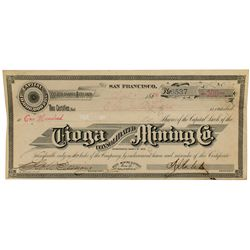 Tioga Consolidated Mining Co. Stock Certificate, Bodie, 1882.