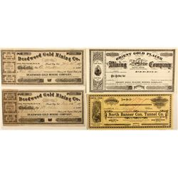 Four stock certificates: Orient Gold, Deadwood, and North Banner