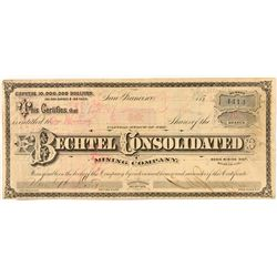 G.T. Brown & Co. Illustrated Stock Certificate for the Bechtel Consolidated Mining Co., Bodie, CA