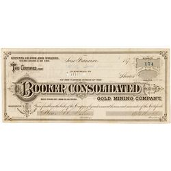 G.T. Brown & Co. Illustrated Certificate for Booker Consolidated Gold Mining Co., Bodie, CA