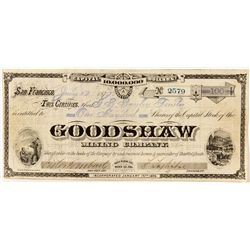 G.T. Brown & Co. Illustrated Stock Certificate for the Goodshaw Mining Co., Bodie, CA