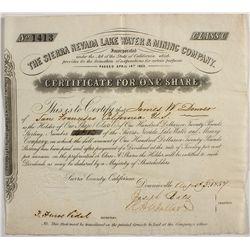 EXTRA RARE Sierra Nevada Lake Water & Mining Company Stock Certificate