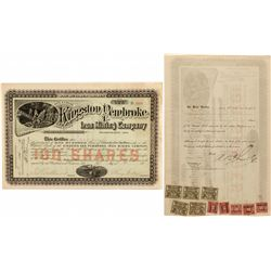 Kingston and Pembroke Iron Mining Company Stock Certificate