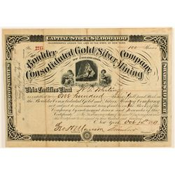 Boulder Cons. Gold & Silver Mining Co. Stock Certificate