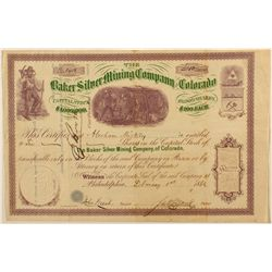 Baker Silver Mining Co. of Colo. Stock Certificate