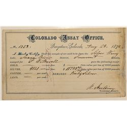 Colorado Assay Office Receipt, Georgetown, Snake River District, 1872