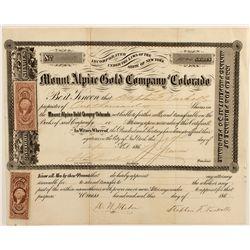 Mount Alpine Gold Co. Stock Certificate, 1864