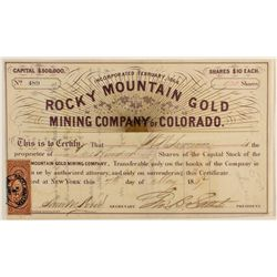 Rocky Mountain Gold Mining Co. Stock Certificate, 1867