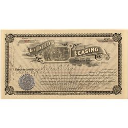 The United Leasing Co. Stock Certificate 1895