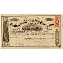 Central Gold Mining Co. Stock Certificate