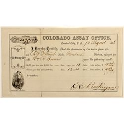 Colorado Assay Office Receipt, Central City, C.T., Montana Mining District, 1868