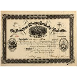 Dauntless Mining Co. of Leadville, Stock Certificate, 1881