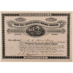 Iron Hill Cons. Mining Co. Stock Certificate
