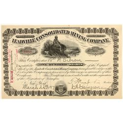 Leadville Consolidated Mining Company Stock Certificate