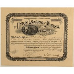 Union Leasing and Mining Company Stock Certificate, 1895