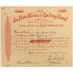 La Plata Mining & Smelting Co. Stock Certificate