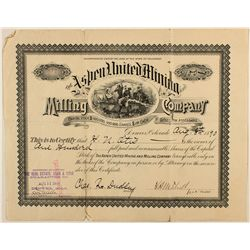 Aspen United Mining and Milling Company stock certificate