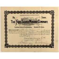 Free Silver Mining Co. Stock Certificate
