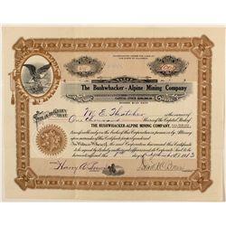 The Bushwhacker-Alpine Mining Company stock certificate