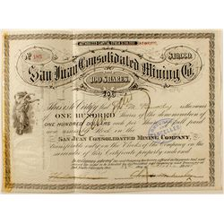 The San Juan Consolidated Mining Company Stock Certificate