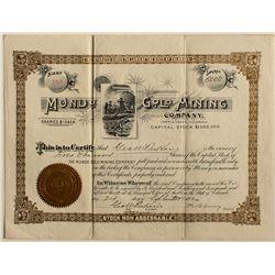 RARE Mondo Gold Mining Company stock certificate