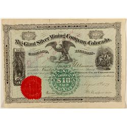 Big Giant Silver Mining Co. of CO Stock Cert.