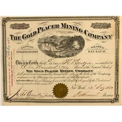 Gold Placer Mining Company Stock Certificate