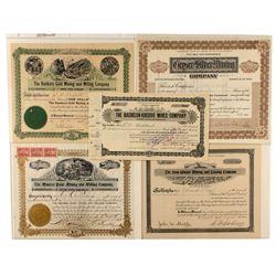 Group of Five Colorado Mining Stocks 1897-1922