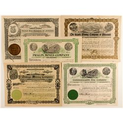 Five Missouri Mining Stock Certificates