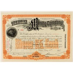 The Helen Mining Company Stock Certificate 1896