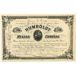 Humboldt Mining Company Stock Certificate 1882