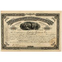The Santa Rita Copper and Iron Company of Santa Rita, New Mexico Stock Certificate