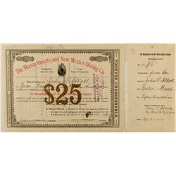 Massachusetts and New Mexico Mining Co. Stock Certificate 1879