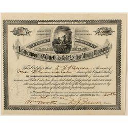 The Leavenworth & White Oaks Gold & Silver Mining Stock Certificate