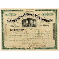 The San Pedro and Canon Del Agua Company Stock Certificate