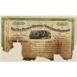 The New Mexico Milling & Smelting Company Stock Certificate