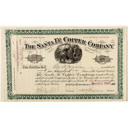 The Santa Fe Copper Company Stock Certificate 1890