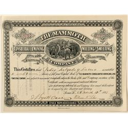 The Mammoth Cons. Mining, Milling & Smelting Company Stock Certificate