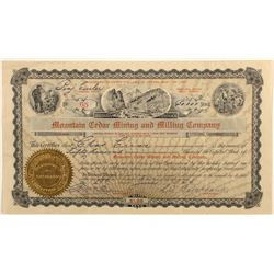 Mountain Cedar Mining and Milling Company Stock Certificate, Chloride