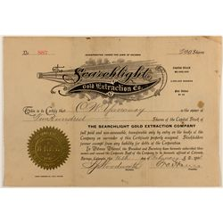 Searchlight Gold Extraction Co. Stock Certificate