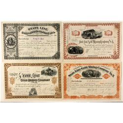 State Line Gold Mining Company stock collection, Gold Mountain, Esmeralda, Nevada