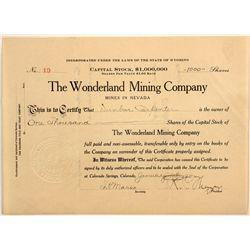 Wonderland Stock Certificate: Forgotten mine and unknown stock